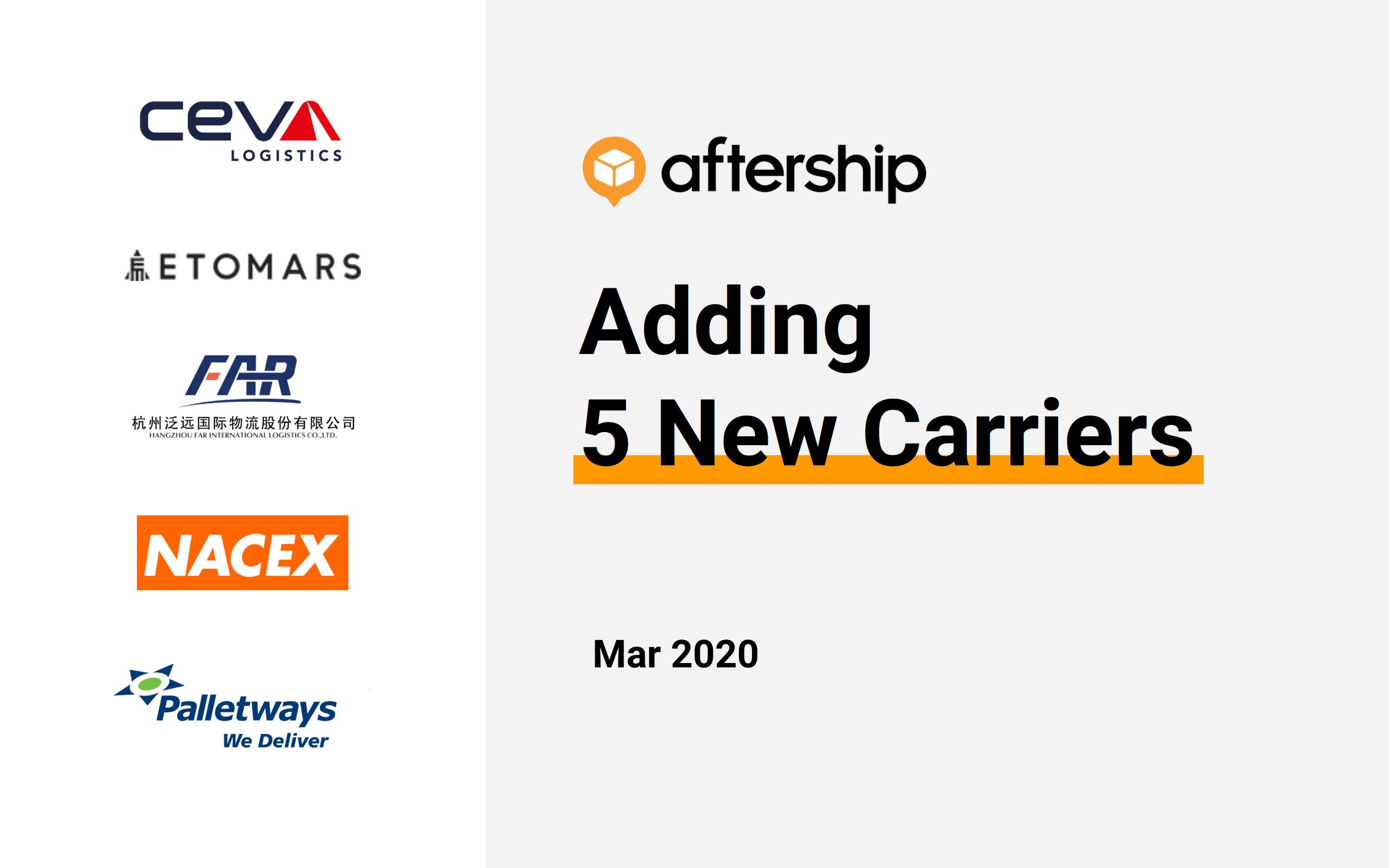 AfterShip added 5 new carriers this week (16 Mar 2020 to 20 Mar 2020)