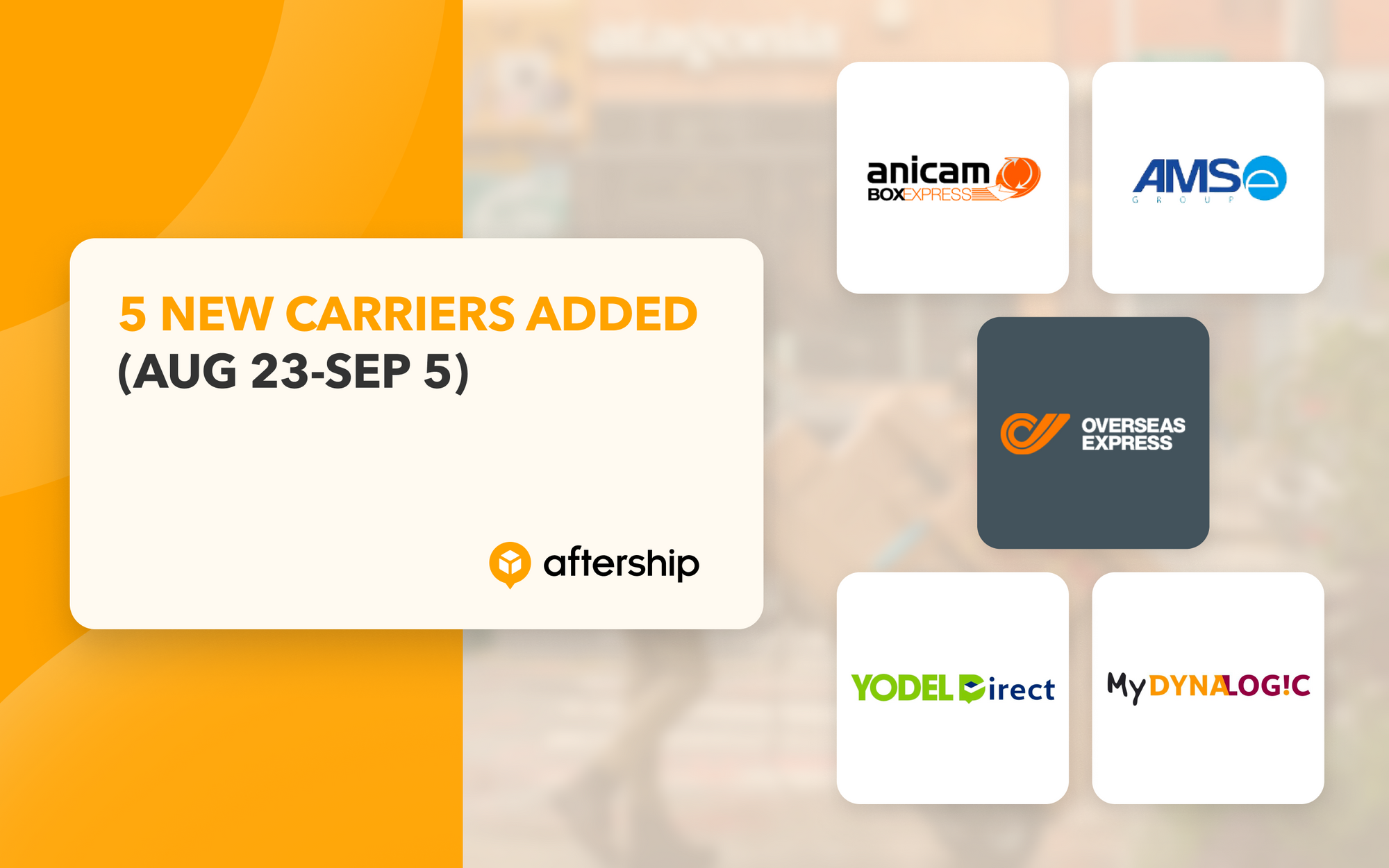 AfterShip adds 5 new couriers in the last two weeks (23rd August 2021 to 5th September 2021