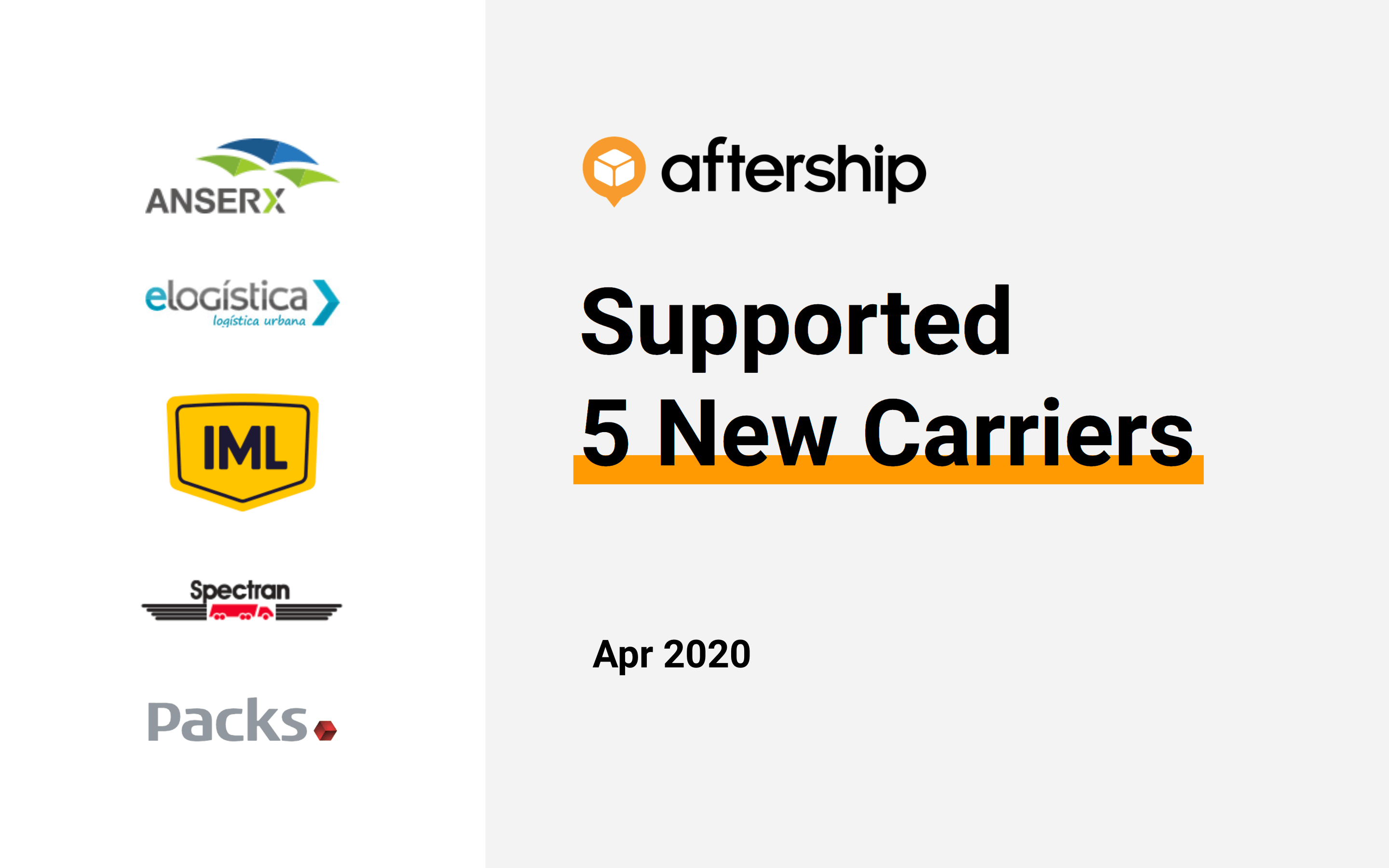 AfterShip added 5 new carriers this week (13 Apr 2020 to 17 Apr 2020)