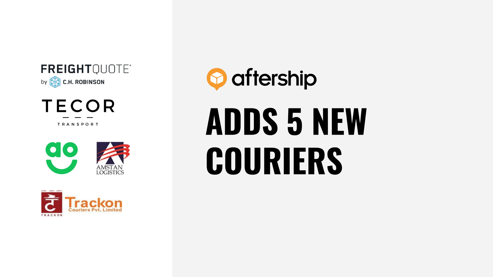 AfterShip adds 5 new couriers this week (7 Dec 2020 to 11 Dec 2020)