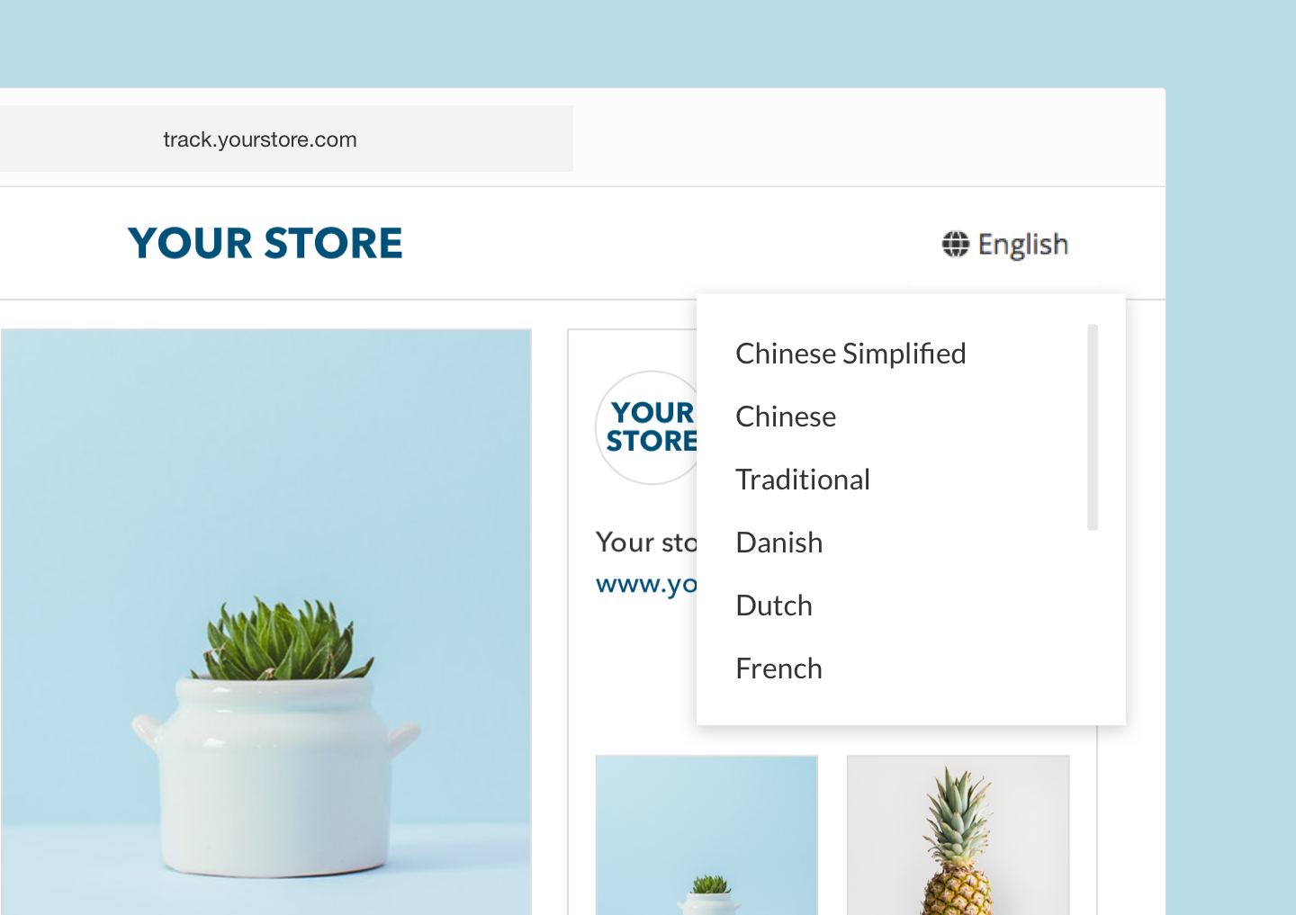 More Languages Supported on Branded Tracking Page