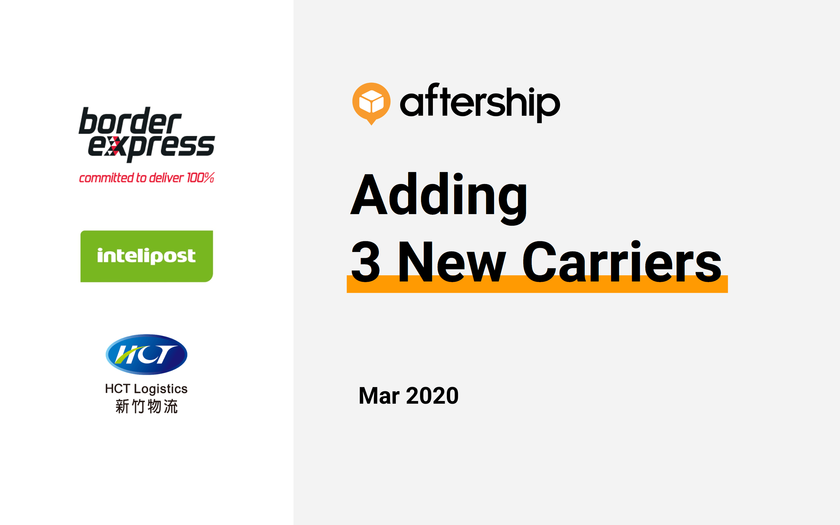 AfterShip added 3 new carriers last week (2 Mar 2020 to 8 Mar 2020)