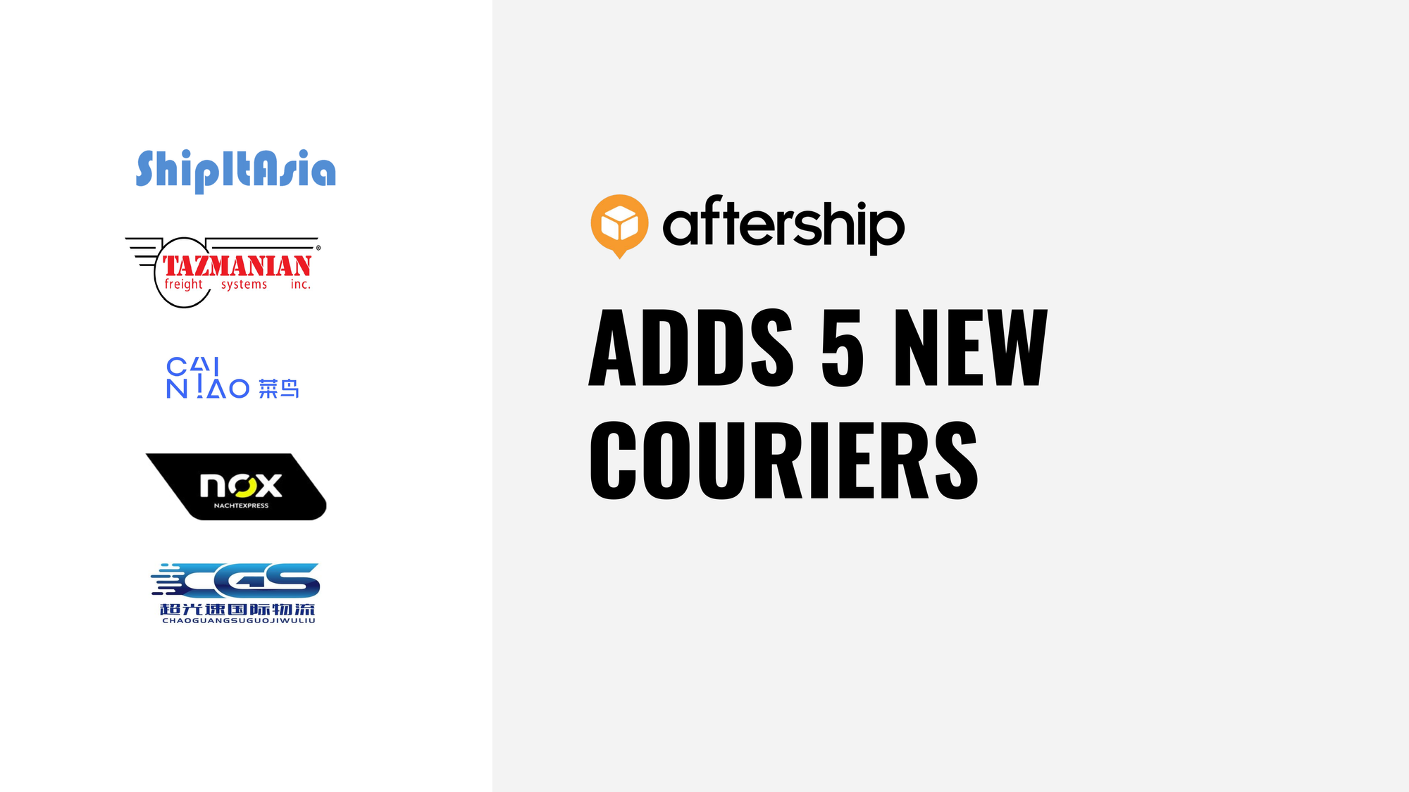 AfterShip adds 5 new couriers this week (21 Sep 2020 to 25 Sep 2020)