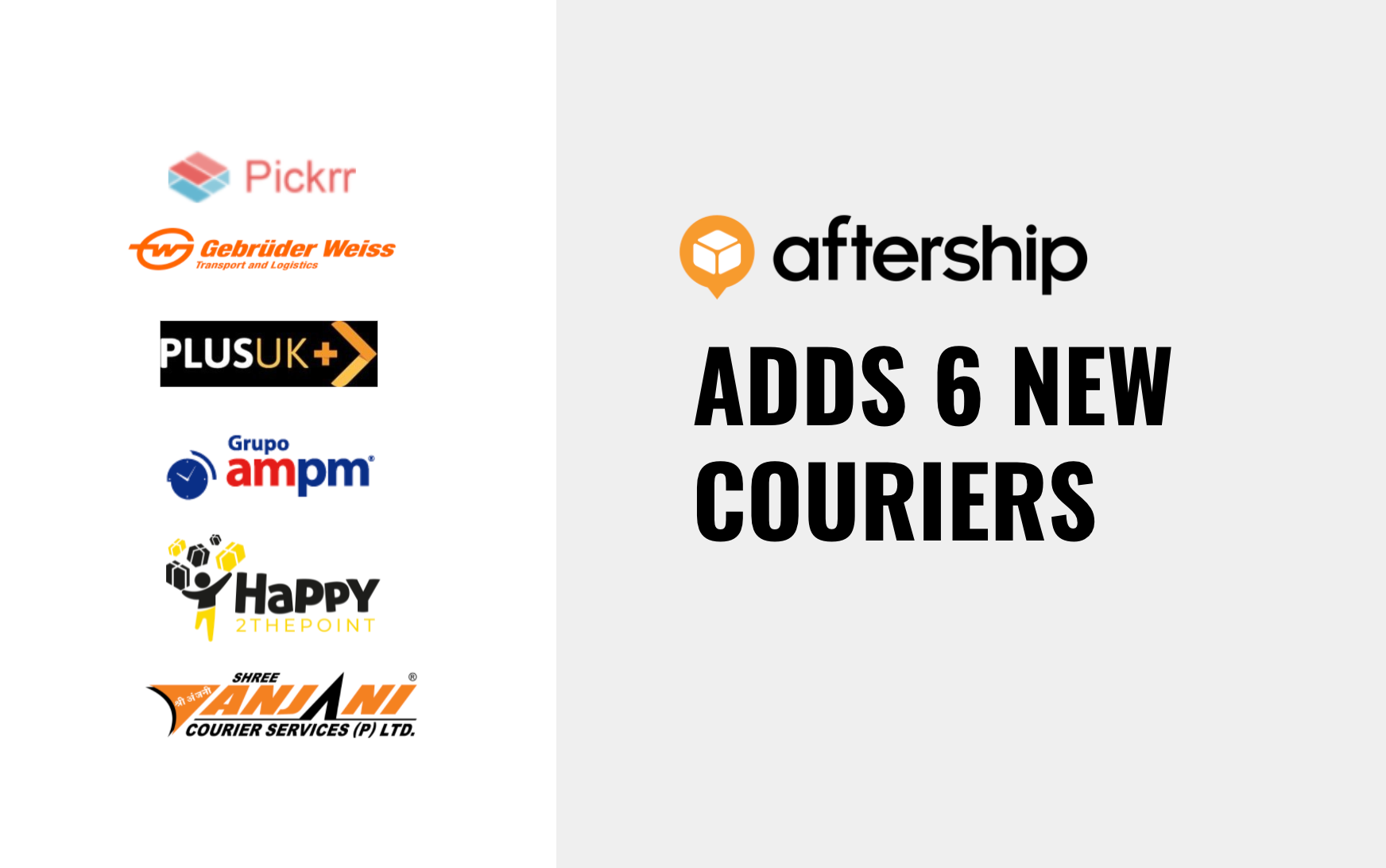 AfterShip adds 6 new couriers between 26th July 2021 and 8th August 2021