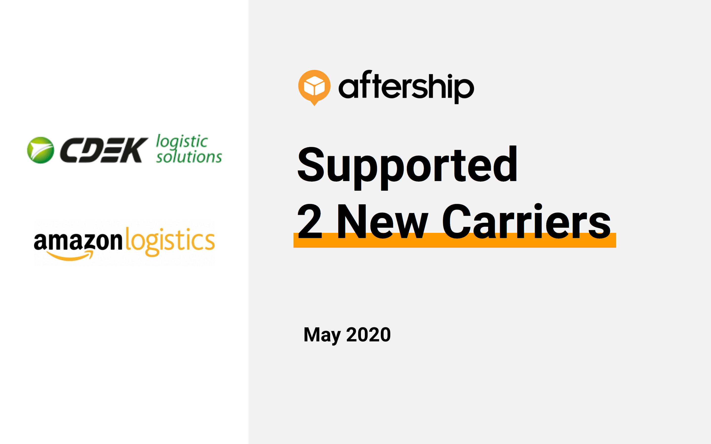 AfterShip added 2 new carriers this week (27 Apr 2020 to 30 Apr 2020)