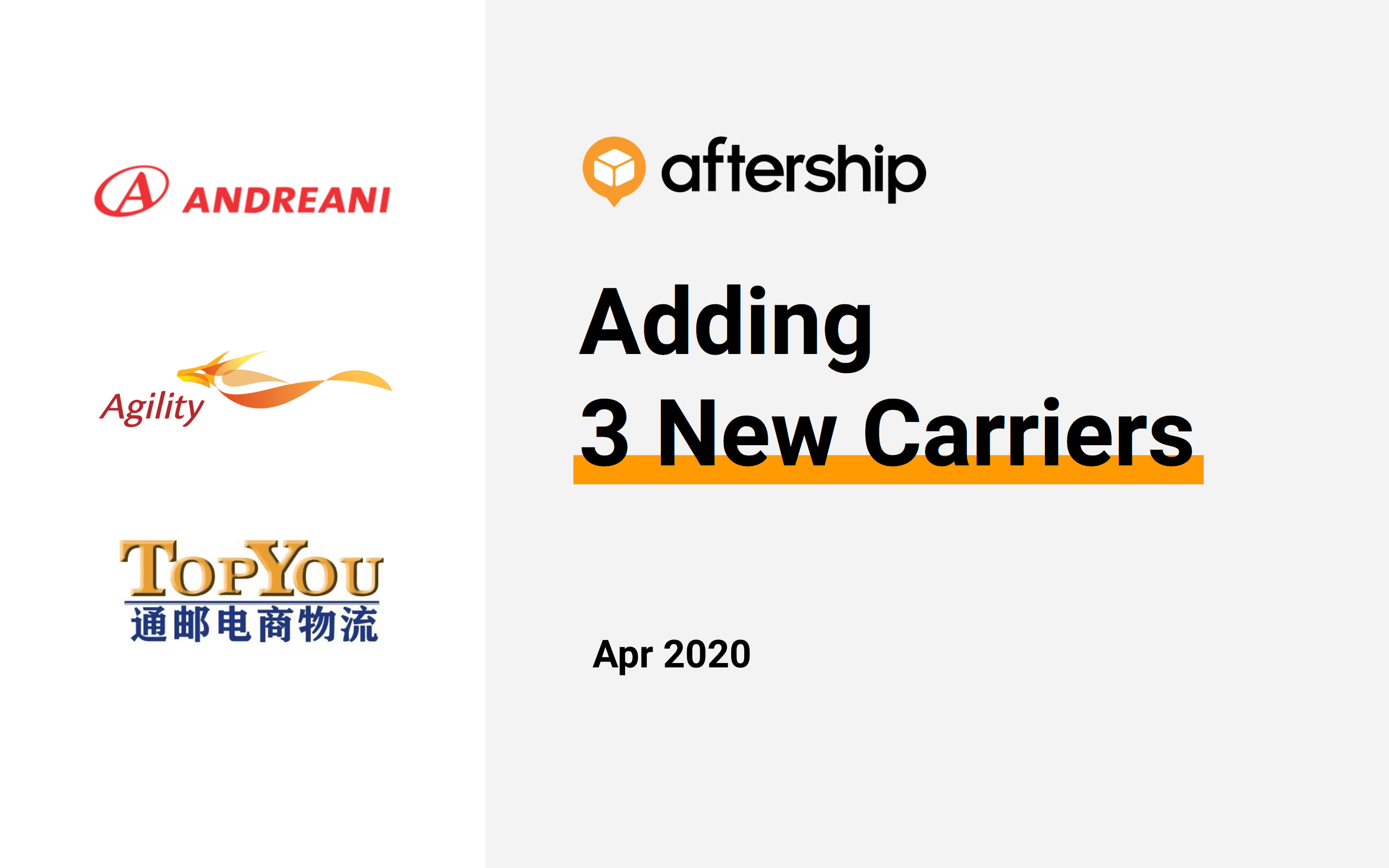 AfterShip added 3 new carriers this week (20 Apr 2020 to 24 Apr 2020)