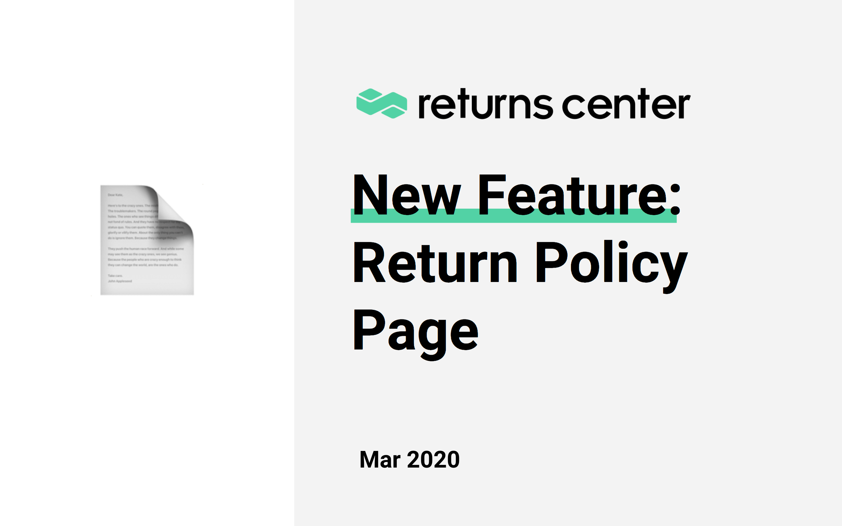 New Feature: Return Policy Page