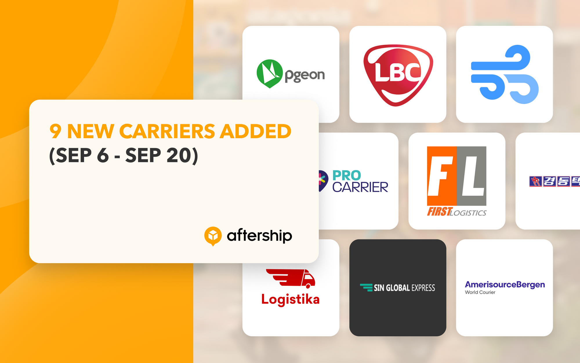 AfterShip adds 9 new couriers in the last two weeks (6th September 2021 to 20th September 2021)