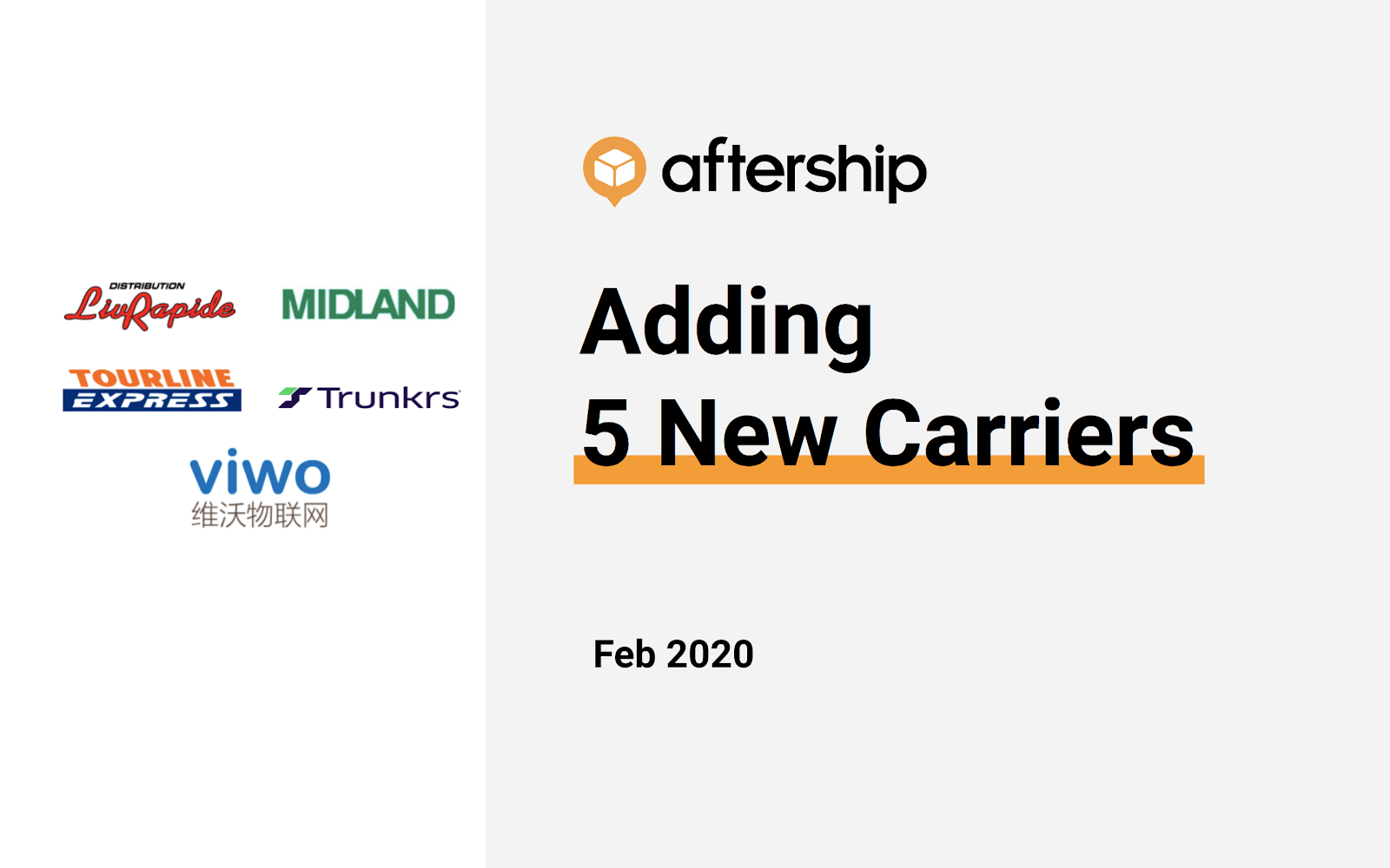 AfterShip newly supported 5 carriers