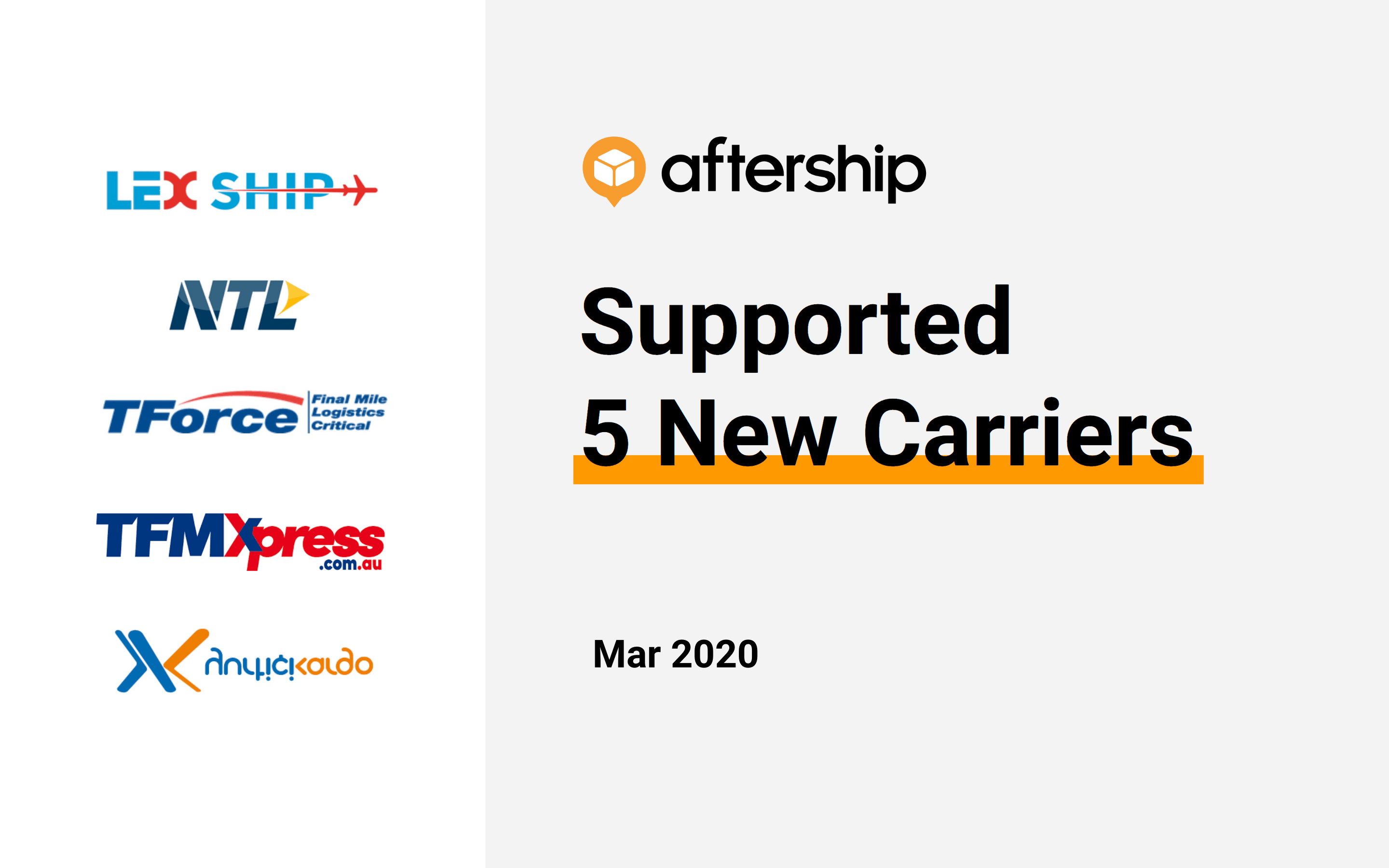 AfterShip added 5 new carriers this week (9 Mar 2020 to 15 Mar 2020)
