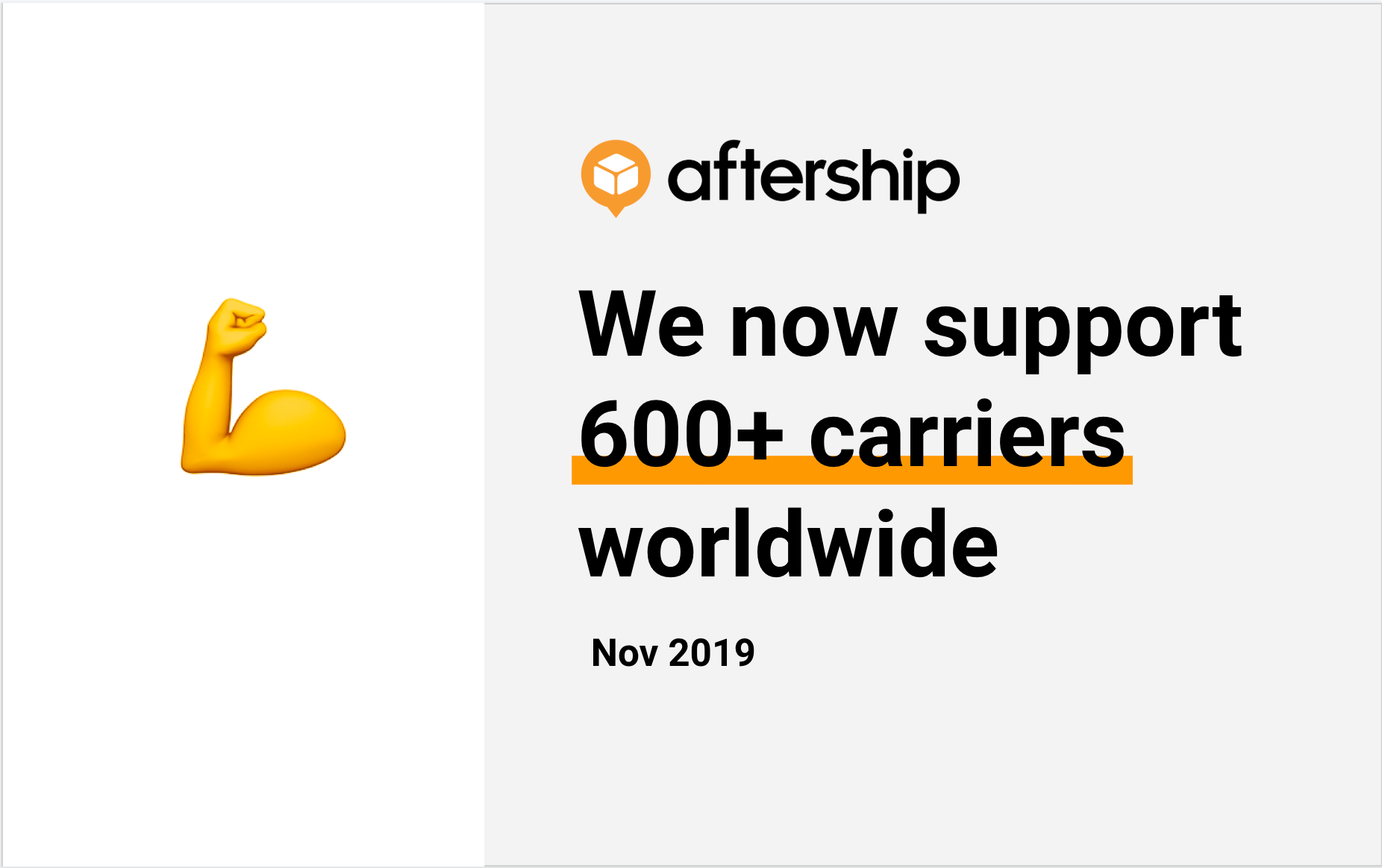 AfterShip now tracks over 600 carriers worldwide